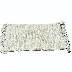 West Elm macrame fringe rectangle deco pillow